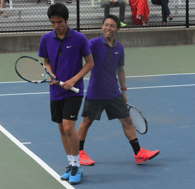 by: TIMES PHOTO: MATT SINGLEDECKER - Sunset doubles team of Jared Lin and Ryan Chin hope to bounce back at the 6A state championships this weekend after dropping the Metro championship.
