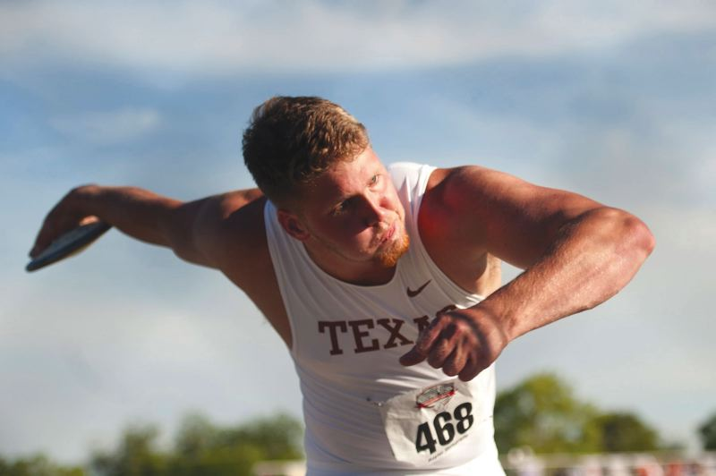 by: COURTESY OF UNIVERSITY OF TEXAS - Barlow High graduate Ryan Crouser set records in the discus and shot put at last week's Big-12 Championships.