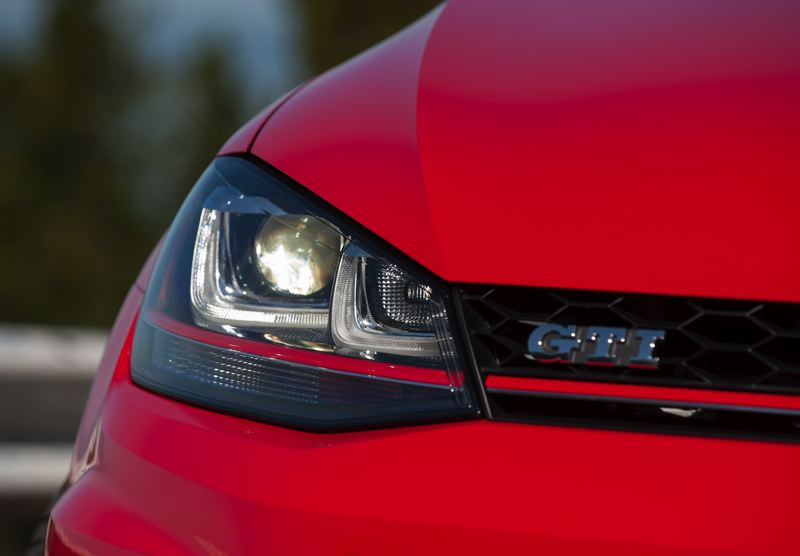 by: TRIBUNE PHOTO: JOHN M. VINCENT -  Leading the way on the 2015 GTI are interesting round projector headlights surrounded by angular LED accent lights.
