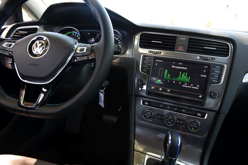 by: TRIBUNE PHOTO: JOHN M. VINCENT - The 2015 E-Golf shares most of it's dash with the rest of the lineup, except for the tachometer that's been replaced with a power meter and energy system pages on the infotainment screen.