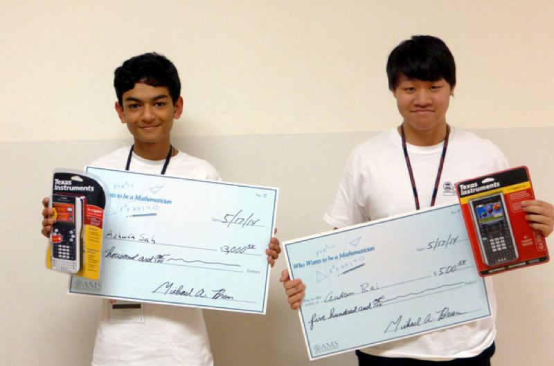 by: SUBMITTED PHOTO - Jesuit High School's Ashwin Sah and Andrew Bai won cash and calculators for their performance in the 'Who Wants to Be a Mathematician' contest on May 17 at Oregon State University.