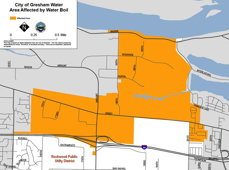 by: CONTRIBUTED PHOTO: CITY OF GRESHAM - This is a map of the portion of Gresham that is affected by the boil water notice.