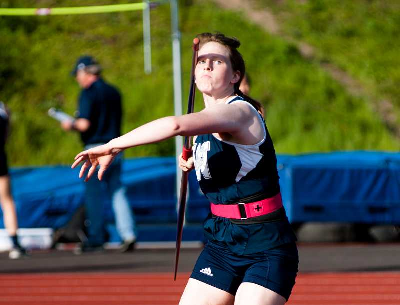by: GREG ARTMAN - Wilsonville senior Rebecca Wenz took third place in the girls javelin on the first day of the Class 5A state track and field championships May 23 at Hayward Field in Eugene.