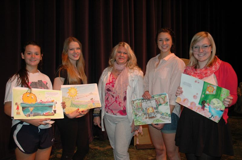 by: SUBMITTED PHOTO - CHS illustration contest winners are pictured above with author Marilyn Lawrence, center. They are, left to right, Carly Musser, Liana Tarasenko, winner Zoe Clegg and Johanna Hausmann.