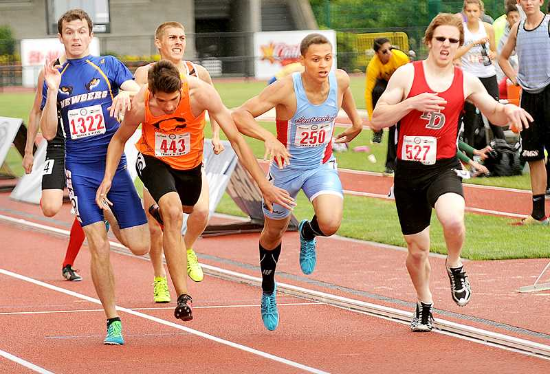 by: SETH GORDON - Newberg's Dan Harper (far left) is forced to pull up in order to avoid falling as Crater's Austin Sander's (second from left) and Centennial's Thomas Morrell III (second from right) fall near the finish line of a qualifying heat of the 800 Friday at the 6A state championship in Eugene.