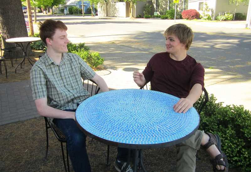 by: GAZETTE PHOTO: BARBARA SHERMAN - Life is good now for Sherwood High School graduating senior Chris Kuiper (left) and his best friend, Ryan Ax, but they remember the tough times when Chris was bullied in elementary and middle school because he has Tourette Syndrome and Ryan was chastised for standing up for him.
