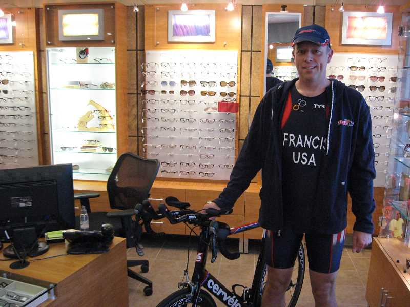 by: GAZETTE PHOTO: RAY PITZ - Dr. Peter Frances is preparing for the World Duathlon Championships set for June 1 in Pontevedra, Spain.