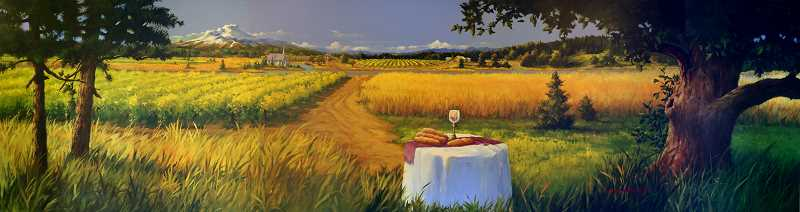 by: PHOTO COURTESY OF FIRST PRESBYTERIAN CHURCH OF WOODBURN - This mural has been approved by the Public Art Mural Committee as the second mural in Woodburn. It will be put installed at the First Presbyterian Church of Woodburn, facing Highway 214. It depicts agricultural staples of the Willamette Valley coming together at a table laid with bread and wine, both religious symbols within the Christian faith.
