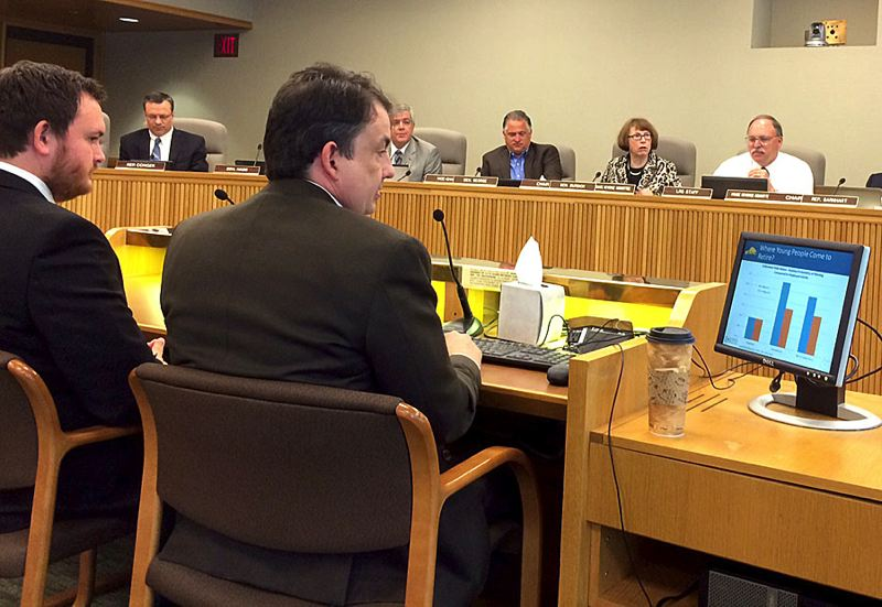 by: TRIBUNE PHOTO: PETER WONG - State Economist Mark McMullen (right), with Senior Economist Josh Lehner of the Oregon Office of Economic Analysis, gave lawmakers on the House and Senate revenue committees the state's quarterly economic forecast Wednesday morning. The forecast showed a growing economy and rising revenues.