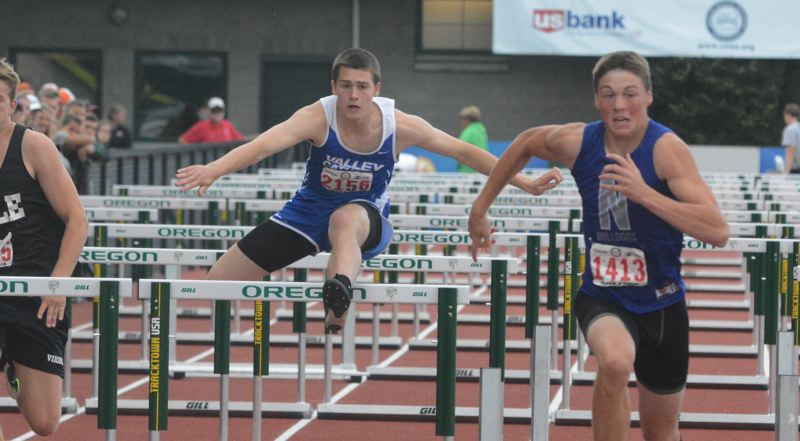 by: TIMES PHOTO: MATT SINGLEDECKER - Valley Catholic junior Tysen Prunty took fourth in both the 110-meter and 300-meter hurdles to help the Valiant boys take second overall as a team.