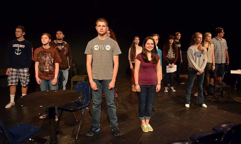 by: REVIEW PHOTO: VERN UYETAKE - Lake Oswego High School students Our Story: The William Stafford Project opens today, from left: Noah VanderVeer-Harris, Brittany Bowling, Tizoc Gutierrez, Austin Ellerbruch, Hannah Rosenbloom, Hannah Boe, Lauren Olson, Isabel Skene, K.C. Colton, Corey Brown, Mackenna Gordon, Ellie Ulrich and John Hanifin.