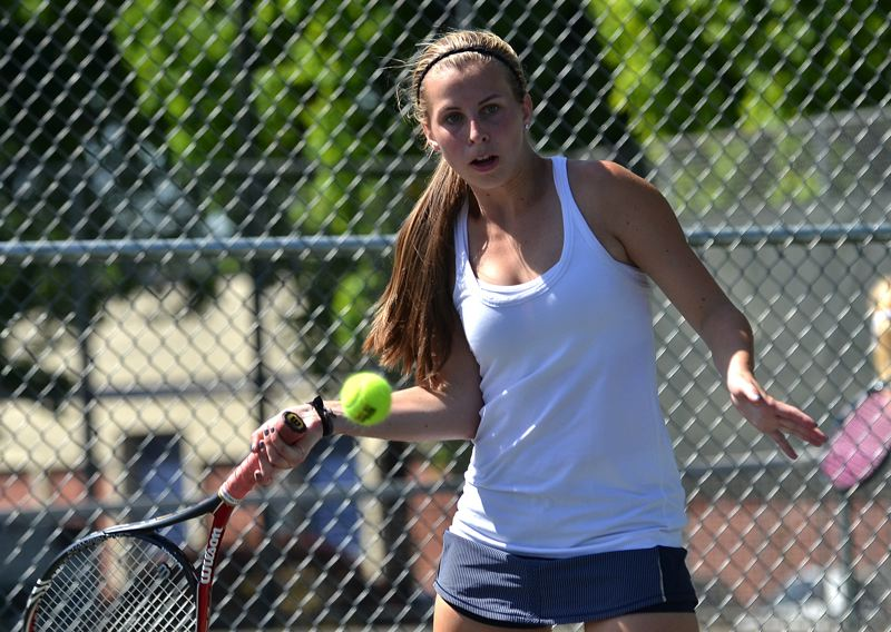 by: VERN UYETAKE - Lake Oswego's Morgan Reno and her partner Bridget Myers reached the quarterfinals of last week's state tennis tournament.