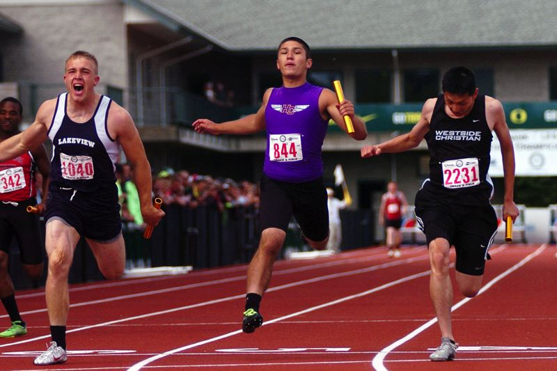 by: DAN BROOD - PHOTO FINISH -- Horizon Christian sophomore Matthew Leong (center) keeps the Hawks close with Lakeview and Westside Christian at the end of the 4 x 100 relay at the Class 6A state track and field championships.