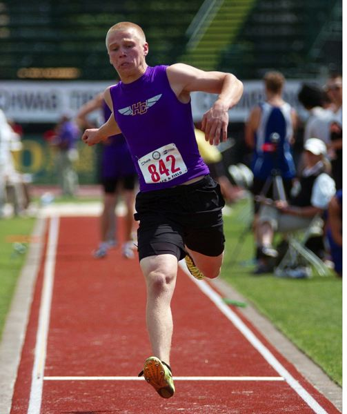 by: DAN BROOD - HOBBS HOPS -- Horizon Christian's Ryan Hobbs took third place in the triple jump competition.