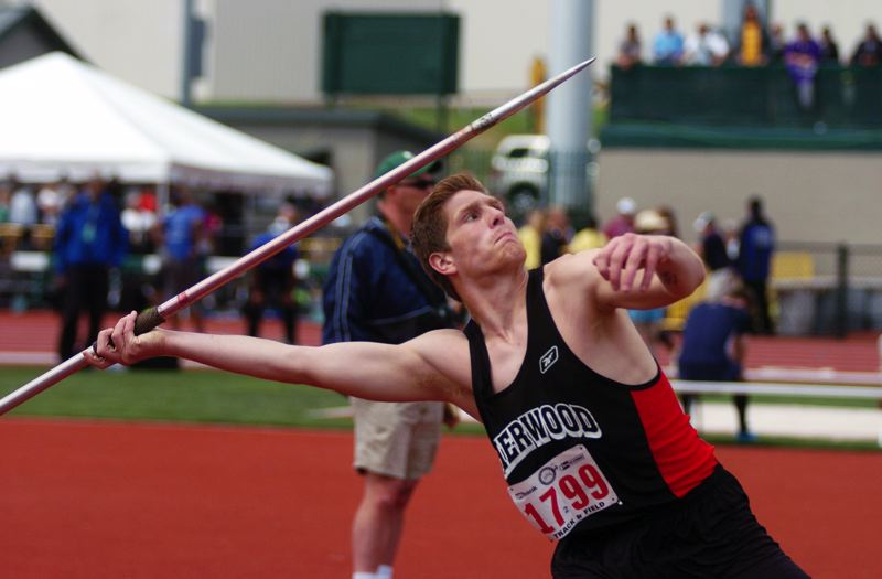 by: DAN BROOD - AUSTIN POWERS -- Sherwood senior Austin Goldstein gets ready to launch the javelin during Saturday's competition. Goldstein placed second.