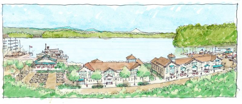 by: COURTESY OF THE AMERICAN INSTITUTE OF ARCHITECTS - An illustration from the Sustainable Design Assessment Team's slideshow depicts what the view from South Second Street in St. Helens, on a bluff overlooking the former Boise Cascade Co. veneer plant property, might look like if the waterfront land were developed as the team recommends.
