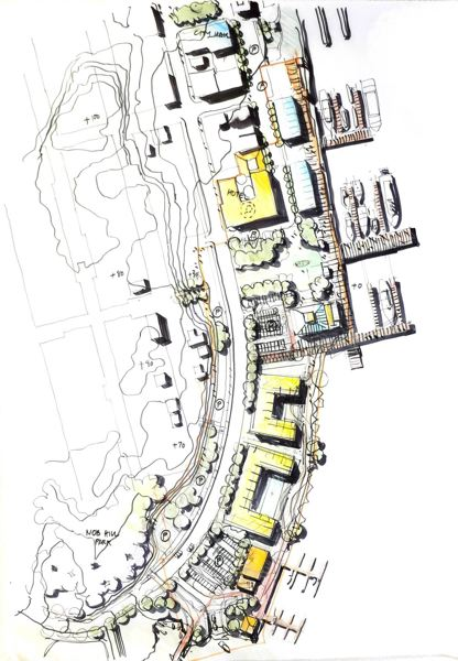 by: COURTESY OF THE AMERICAN INSTITUTE OF ARCHITECTS - An overview map presented by the Sustainable Design Assessment Team on May 14 shows how the team, which was convened by the American Institute of Architects to evaluate St. Helens' plans to buy and ultimately utilize the waterfront land south of Old Town that is currently owned by Boise Cascade Co., recommends the waterfront should be developed. St. Helens City Hall can be seen at the top left of the map.