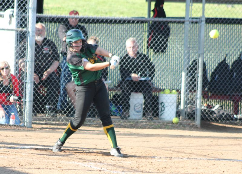 by: JIM BESEDA/MOLALLA PIONEER - Colton's Becky Patterson delivered an RBI-triple in a two-run sixth inning that pulled the Vikings within 6-3 of Corbett in Thursday's OSAA Class 3A softball playoff game. Corbett won 13-3.