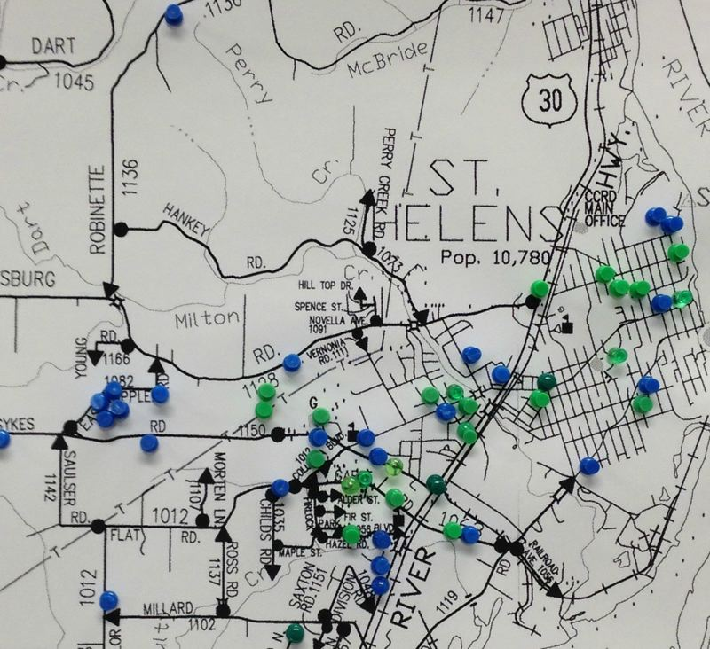 A map put together by the Columbia County Sheriff's Office marks thefts and burglaries that have struck the St. Helens area in the month of May.