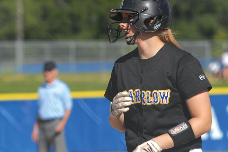 by: THE OUTLOOK: DAVID BALL - Barlow's Morgan Bratcher keeps her eye on the catcher while setting up at first base during Friday's 1-0 loss to Westview.