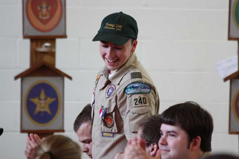by: HILLSBORO TRIBUNE PHOTO: DOUG BURKHARDT - Hillsboro's Boy Scout Troop 240 -- founded in 1954 -- celebrated its 60th anniversary during a Saturday event at Lincoln Elementary School. Dozens of Eagle Scouts from over the years since the troop was founded were among those being honored.