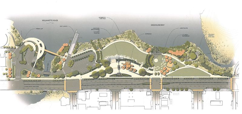by: RENDERING COURTESY: CITY OF MILWAUKIE - The completed Riverfront Park design includes new parking areas north and south of Kellogg Creek, a play area for children and an amphitheater for performances.