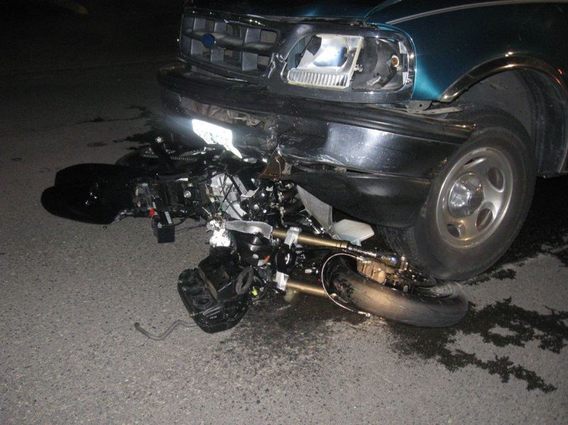 by: BEAVERTON POLICE DEPARTMENT - A motorcyclist collided with a pickup truck early Sunday morning on Tualatin Valley Highway near its interecstion with Southwest 139th Ave.