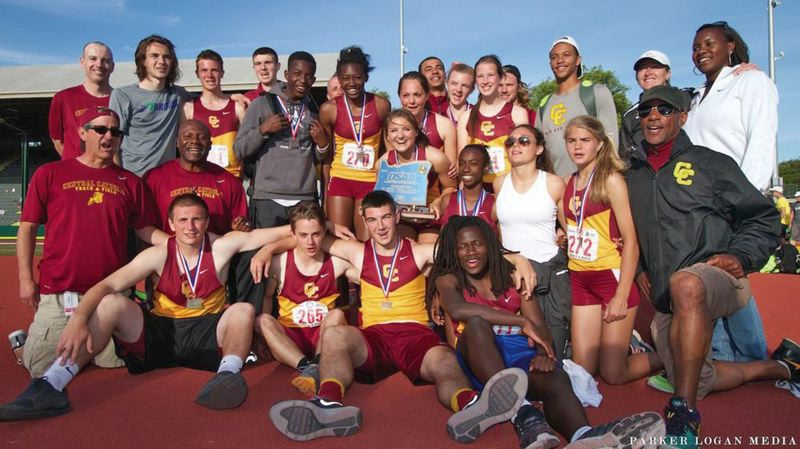by: COURTESY OF CENTRAL CATHOLIC HIGH SCHOOL - Central Catholics state champion girls track and field team poses with members of the Rams boys squad, which placed 10th in the Class 6A meet at Hayward Field in Eugene.