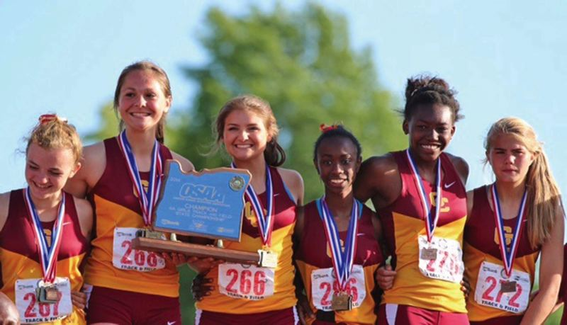 by: COURTESY OF CENTRAL CATHOLIC HIGH SCHOOL - Members of Central Catholics Class 6A champion track and field team include (from left) Riley Ford, Olivia Gabriel, Cassidy Coto, Malika Washington, Zharia Hale and Anna Laber.