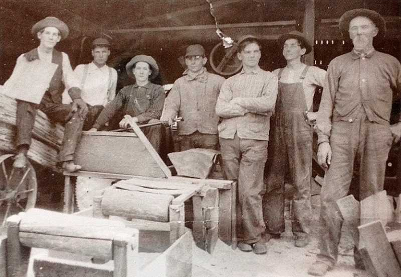 Shingle sawing before 1915: J.S. Yoder, the mill's founder and David Yoder's anscestor, is on the far right.