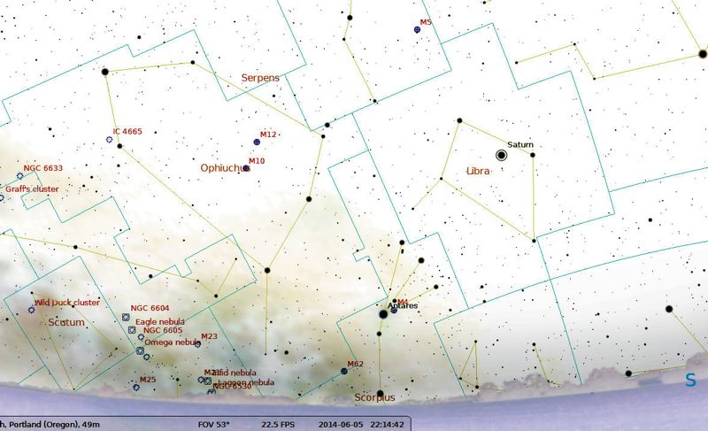 by: CONTRIBUTED ILLUSTRATION - This map shows where Saturn will be at 10 p.m. Thursday, June 5.