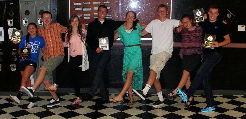 by: JIM BESEDA/MOLALLA PIONEER - Molalla High School's 2013-14 Athletes of the Year -- Desirae DesRosiers, Matthew Borowczak, Audrey Bever, Austin Alexander, Hannah Clarizio, Conner Green, Emily Bever and Darian Baughman -- were recognized during an awards ceremony Tuesday night.