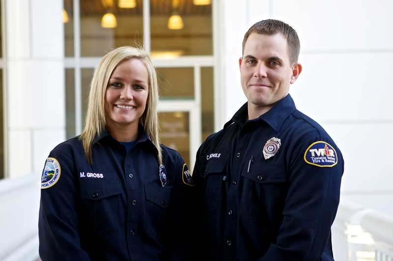 by: TIMES PHOTO: JAIME VALDEZ - Tualatin Valley Fire & Rescue recruits Cody Nichols and Maya Gross came up with the idea to raise money for gifts to donate to OHSU's Child Life Program.