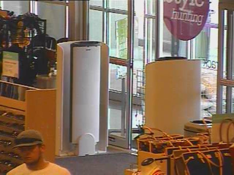 by: WILSONVILLE POLICE DEPARTMENT - Wilsonville Police suspect this man broke into a car at Town Center Park and used the victim's credit cards fraudulently at businesses in Tualatin and Tigard. This is a clearer view of his face.
