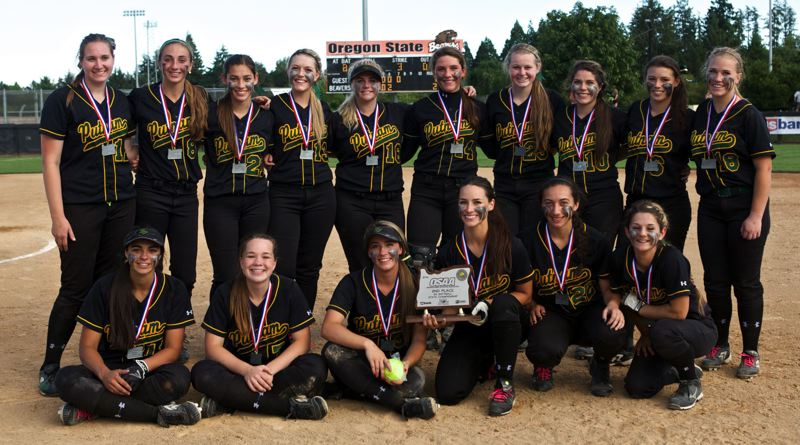 by: JAIME VALDEZ - Putnam softball players pose with their second-place hardware from the 2014 Class 5A high school state championship playoffs. Its the first time a Putnam team has trophied at state in softball since 1995.