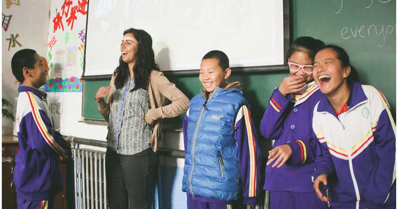 Canby native Shelby Bennett (second from left) enjoyed her teaching assignment in China and said the system is far more memorization based than American education.