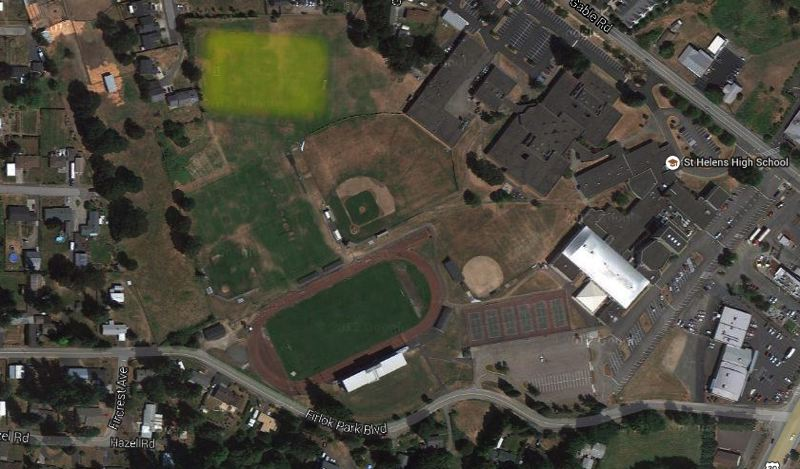 FC Columbia County has already gotten a verbal committment from St. Helens High School to put artificial turf on the school's JV soccer field, highlighted in yellow. Turfing the varsity field to the south is also an option, should the grant money allow it, according to Simon Date, the club's director of coaching.