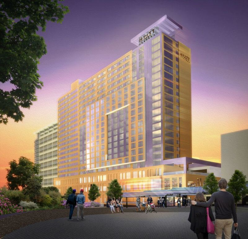 by: COURTESY OF METRO - A rendering shows the proposed Hyatt Hotel that could be constructed adjacent to the Oregon Convention Center. Metro is working out details of the proposal to consruct the hotel.