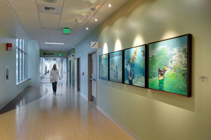 by: COURTESY OF STEVE CRIDLAND - Art like these acrylics by William Park is everywhere at the Kaiser Permanente Westside Medical Center in Hillsboro. The hospitals overall art theme is tranquil relief through nature.