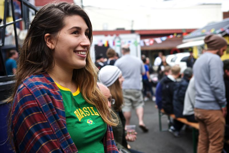 by: TRIBUNE PHOTO: JAIME VALDEZ - Anna Swan from Brazil cheered her country's team during its first victory in the 2014 World Cup tournament.