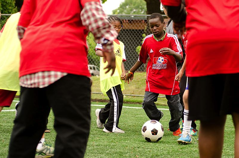 by: COURTESY OF TYE ORTEGA - Youngsters get in on the action at the new Bless Field in North Portland.