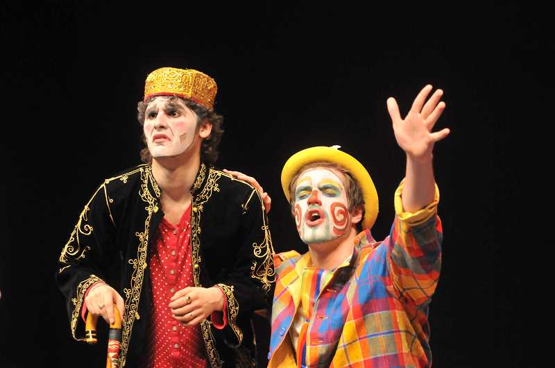 by: FILE PHOTO - The thinking man's actor - Recent Newberg High School graduate Garrett Gibbs (left) performs during a presentation of 'The Servant of Two Masters' last year. Gibbs became Newberg's first-ever international honor thespian in May.