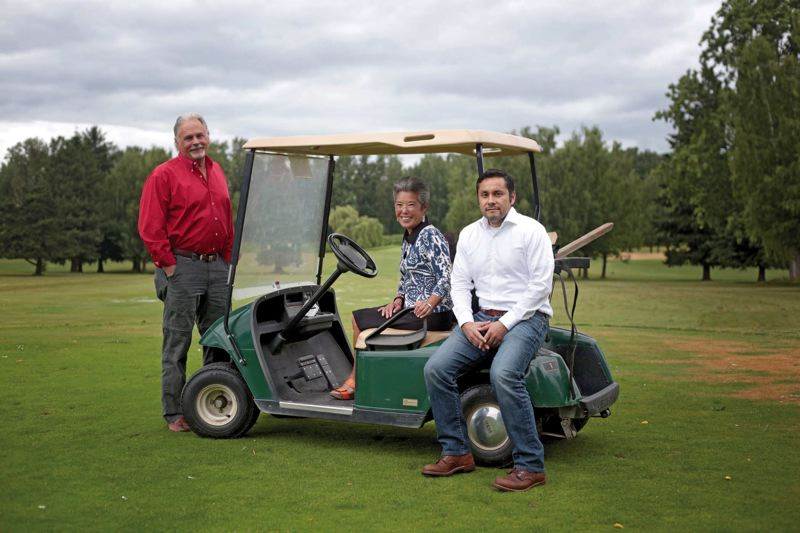 by: TRIBUNE PHOTO: JONATHAN HOUSE - John Zoller, Vicki Nakashima and Warren Jimenez are part of the Portland Golf Advisory committee, which will promote the sport to younger and minority players.