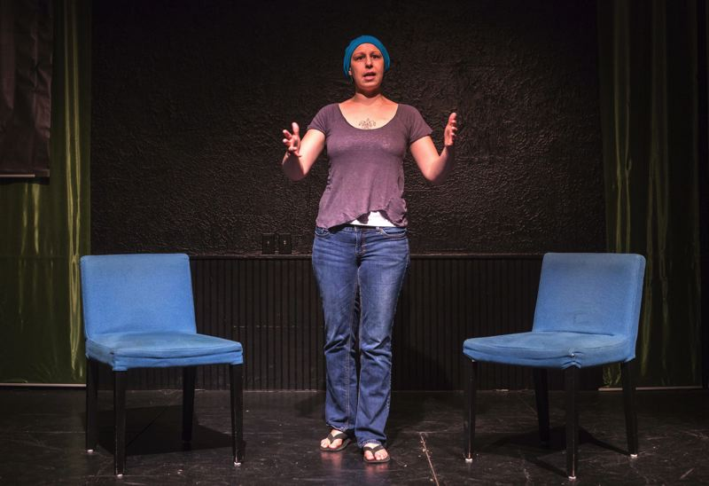 by: TRIBUNE PHOTOS: JONATHAN HOUSE - Domeka Parker, a top improvisation actor and instructor, feels at home onstage at The Brody Theater. She gratefully talks about all the love and support from others during her fight with breast cancer.