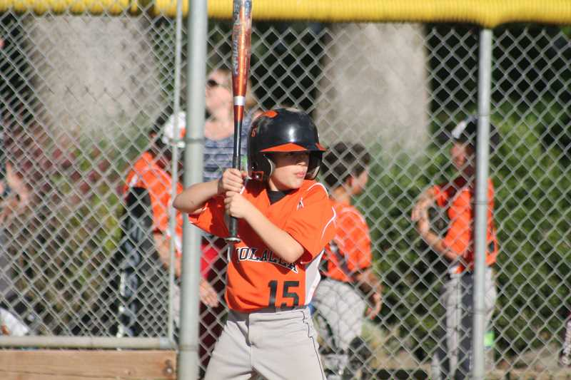 by: JIM BESEDA/MOLALLA PIONEER - Mohicans' clean-up hitter Zac B. stands ready to swing away.
