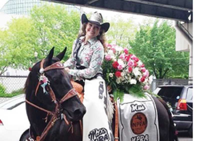 by: SUBMITTED PHOTO - Miss NPRA Kayla Vincent mounts up for the Rose Parade.