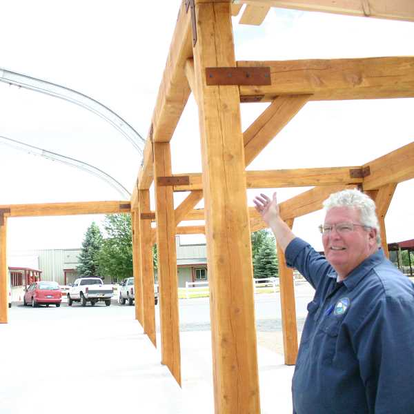by: JASON CHENEY/CENTRAL OREGONIAN - Crook County Fairgrounds Manager Casey Daly hopes the new structure will attract more events to the facility.