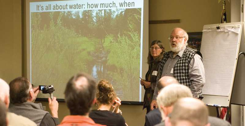 by: KEVIN SPERL/CENTRAL OREGONIAN - Deborah Krause and EJ Honton, residents of the Marks Creek area of the Ochoco National Forest, present their objections to the proposed Ochoco Summit Trail System.