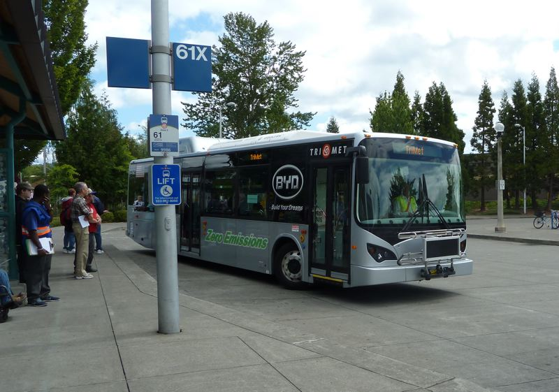 by: COURTESY OF TRIMET - Look for this all-electric bus for a free ride in the near future.