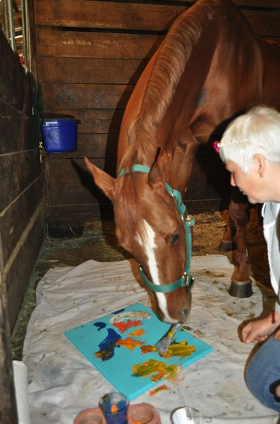 by: HILLSBORO TRIBUNE PHOTO: MICHELLE THOMAS - Levi, shown here working on one of his paintings, shows affection for his human owners and has earned the nickname Uncle Levi for the care and patience he shows to foals.